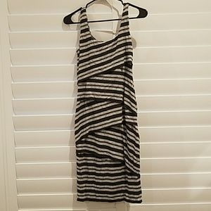 Black and gray striped fitted dress.